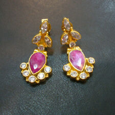 Lovely Zircon Or Ruby 925 Sterling Silver Gold Plated Stud Earrings For GIFT