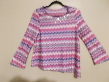 Justice Girls Size 20 Chevron Pattern Multii-Color Blouse Attached Purple Cami