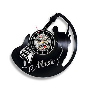 Guitar Wall Clock Musical Instrument Jazz Music Wall Decor Art Vinyl Record