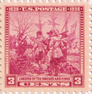 1938 Landing of the Swedes and Finns 3 Cents US Postage Stamp with Original Gum