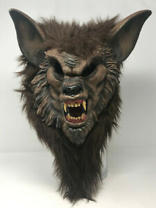 Scary Werewolf Mask Full Mask Adult Size Latex Face With Brown Fur Fangs Slip On