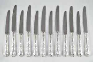 C J VANDER 6 DINNER 6 DESSERT KNIVES STERLING SILVER QUEENS PATTERN 1969