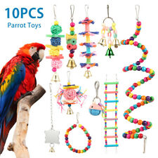 10X Parrot Toys Metal Rope Small Ladder Stand Budgie Cockatiel Cage Bird Set CO