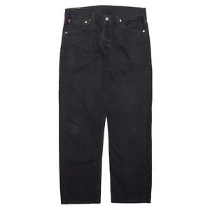 LEVI'S 590 02 Black Denim Regular Straight Jeans Mens W34 L32