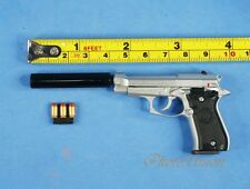 BERETTA GUN PISTOL M84FS Cheetah Nickel Silencer 1:3 Scale Figure Model K1181 C