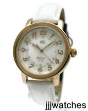 New Tommy Hilfiger Rose Gold Case White Leather Women Watch 38mm 1781220 $115