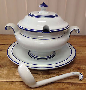 Soup Tureen Blue White Portugal Majolica 4 Pieces OAL Handpainted 4166 Maker ?