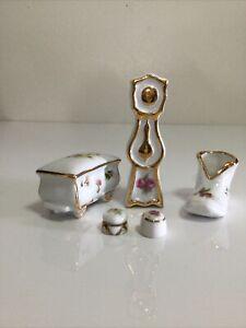 Lot of 5 Vintage Porcelain Limoges Miniature Dollhouse Furniture Clock Shoes +