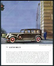 1934 Lincoln Willoughby Limousine black car color art BIG vintage print ad