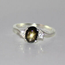 Genuine Black Star Sapphire Ring Sterling Silver / Oval-Shaped