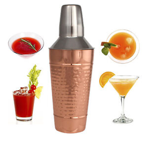 Copper Stainless Steel Cocktail Shaker - Cocktail Mixer W/ Jigger Cap & Strainer