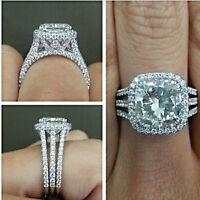 3.00 Ct Cushion & Round Diamond Halo Engagement Wedding Ring 14K White Gold Fn