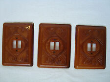 Lot of 3 Vintage Ornate Brown Wall Light Switch Plate Cover