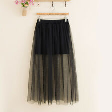 Women Lady See Through Dress Sheer Mesh Lace Chiffon Maxi Long Skirt Party Dress