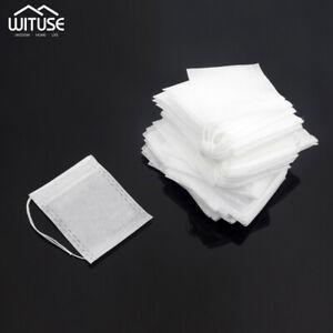 100Pcs Tea Filter Bags Disposable Drawstring Safe Strong Penetration Teabags 25