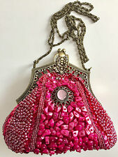 RENAISSANCE STYLE ITALIAN ORNATE JEWELLED CLUTCH ROSE, FRAMED XBODY CHAIN STRAP