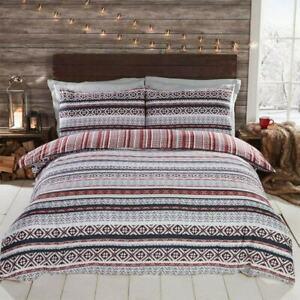 Silentnight Grey Red Soft Heritage Nordic Reversible Double Duvet Set Bedding