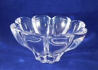 Vintage Lead Crystal Glass Petal Flower Footed Candy Dish Bowl Heavy