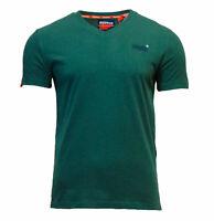 Superdry Mens New Orange Label Vintage Embroidered V Neck T Shirt Green Marl