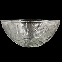Vintage Clear Glass Embossed Grapes Leaves Fruit Salad Centerpiece Bowl 10-1/2""