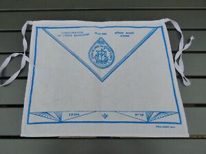 ISRAËL RARE TABLIER MAÇONNIQUE 1987 CONSÉCRATION LOGE MASONIC APRON FREIMAURER