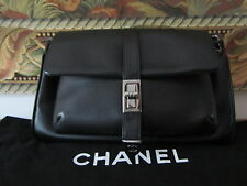 CHANEL Caviar Mademoiselle Lock Accordion Flap Black Shoulder Bag