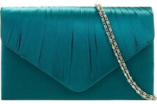 Teal Clutch Bag Peacock Green Satin Evening Bag Wedding Shoulder Bag Prom Bag