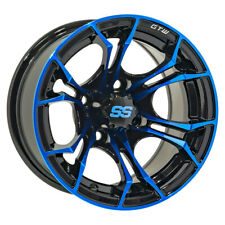 Set of 4 Golf Cart GTW Spyder 14 inch Black and Blue Wheel With 3:4 Offset