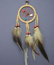 Dreamcatcher traditional BROWN TAN indian style dream catcher Sm 6x15cm bedroom