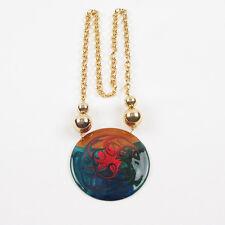 Vintage Large Enamel Pendant Necklace Shinny Goldtone Graduated Beads