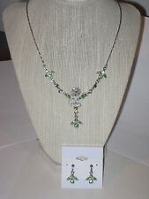 LOT OF 2: PREMIER DESIGNS ANASTASIA CUT CRYSTAL NECKLACE & EARRINGS SET - LOVELY