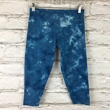 EARTH YOGA Organic Cotton Bamboo Sz Small Blue Tie Dye Crop Leggings Work Out