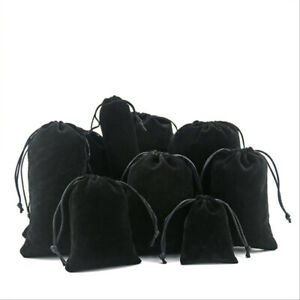 Black Velvet Drawstring Gift Bag Wedding Jewellery Candy Party Pouch Bags 6 Size