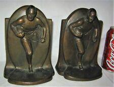 ANTIQUE 1920's H. SALMI BRONZE STATUE SCULPTURE AMERICAN USA FOOTBALL BOOKENDS