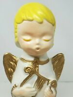 Poloron Blow Mold 1960s Pixie  Christmas Collection Angel and Harp  #C11-5