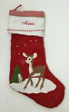 Pottery Barn Kids Christmas Stocking Rudolph Reindeer Red Plaid Quilted MASON
