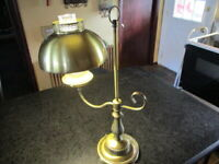 Vintage Antique Style Brass Tone Metal Piano Desk Table Lamp Light