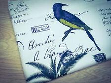 Shabby Chic Pájaros y Palmera 100% Tela De Algodón. precio por 1/2 metros