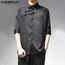 Mens Steampunk Pirate Shirt Top Gothic Medieval Short Sleeve T Shirt Blouse Tops