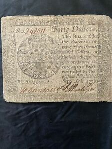 1778 $40 Continental Currency (Post Revolutionary War)