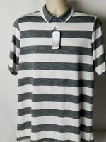Great Northwest Performance Golf Polo Shirt Gray White Stripe Mens Medium NWT