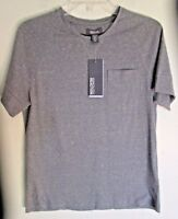 NWT Kenneth Cole Mens Casual Short Sleeve Shirt Crew Neck Gray Small