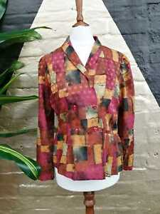 Original Vintage1980s Cotton Pink/Purple Abstract Floral Jacket/Blazer
