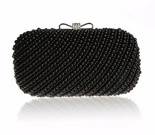 WOMENS BLACK PEARL CLUTCH DIAMANTE RHINESTONE BOW  BAG PEARLS BRIDE BRIDAL