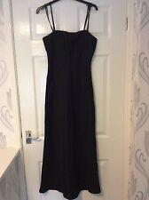 Topshop Long Black Strappy Dress Size 10 63% Linen