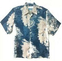 Kai Hawaiian Shirt Mens Sz M Button Front Short Sleeve Blue Tan & White Rayon
