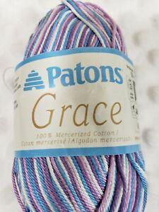 Patons Grace Yarn-Lavender 100% mercerized cotton, 1.75 oz and 136 yd Light wt