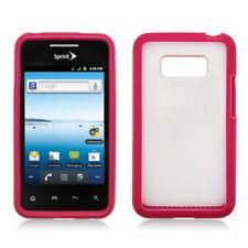 For LG Optimus Elite LS696 TPU Gel GUMMY Hard Skin Case Phone Cover Pink Clear