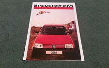October 1984 1985 PEUGEOT 205 UK BROCHURE XE XL GL XR GR XT GT XLD GLD GRD