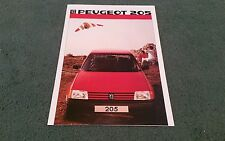 October 1984 1985 PEUGEOT 205 UK BROCHURE XE XL GL XR GR XT GT GLD Dealer Stamp